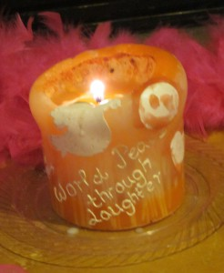 "This is THE ""World Peace Through Laughter"" candle, celebrating the 20th anniversary of Laughter Yoga, which has been traveling the world, spreading light and peace to Laughter Clubs everywhere."